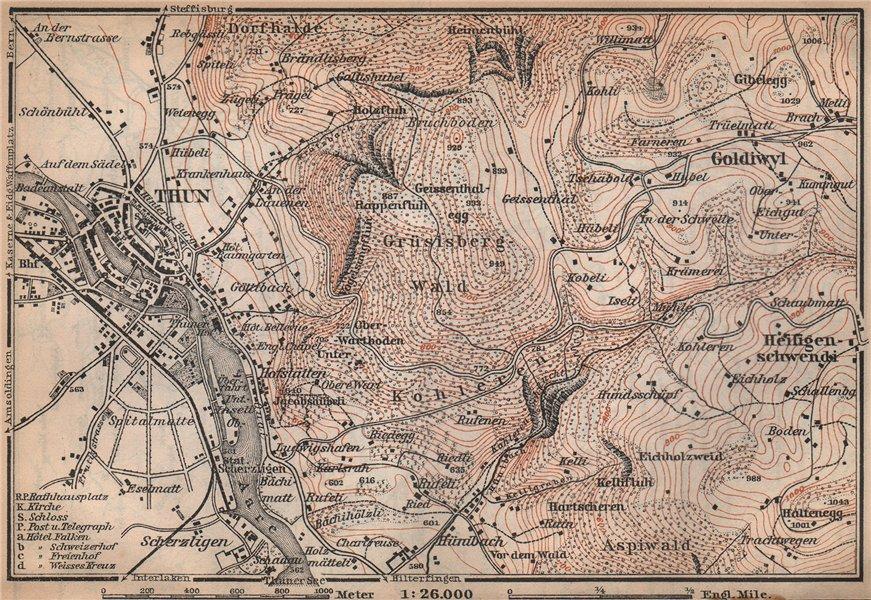 Associate Product THUN ENVIRONS. Goldiwyl. Switzerland Suisse Schweiz carte karte 1899 map
