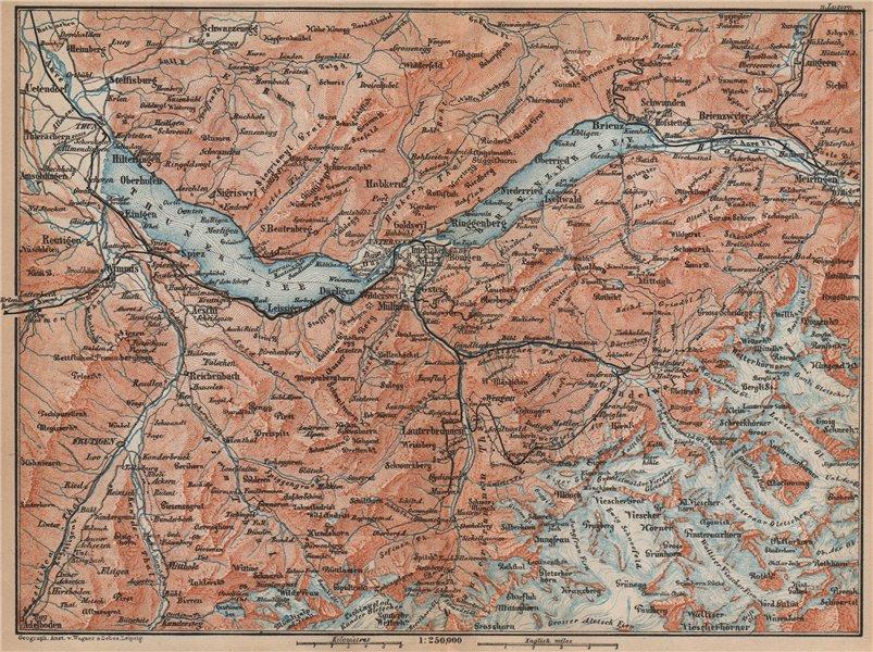 Associate Product BERNESE OBERLAND. Wengen Mürren Grundelwald Reutigen Interlaken Eiger 1899 map