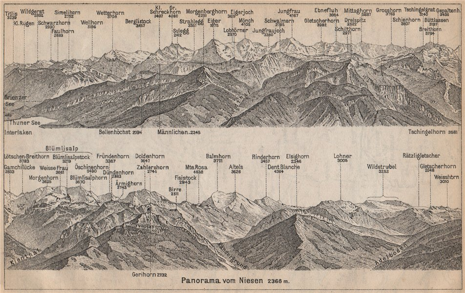 Associate Product PANORAMA from/von NIESEN 2366m. Blumisalp Jungfrau Switzerland Schweiz 1899 map