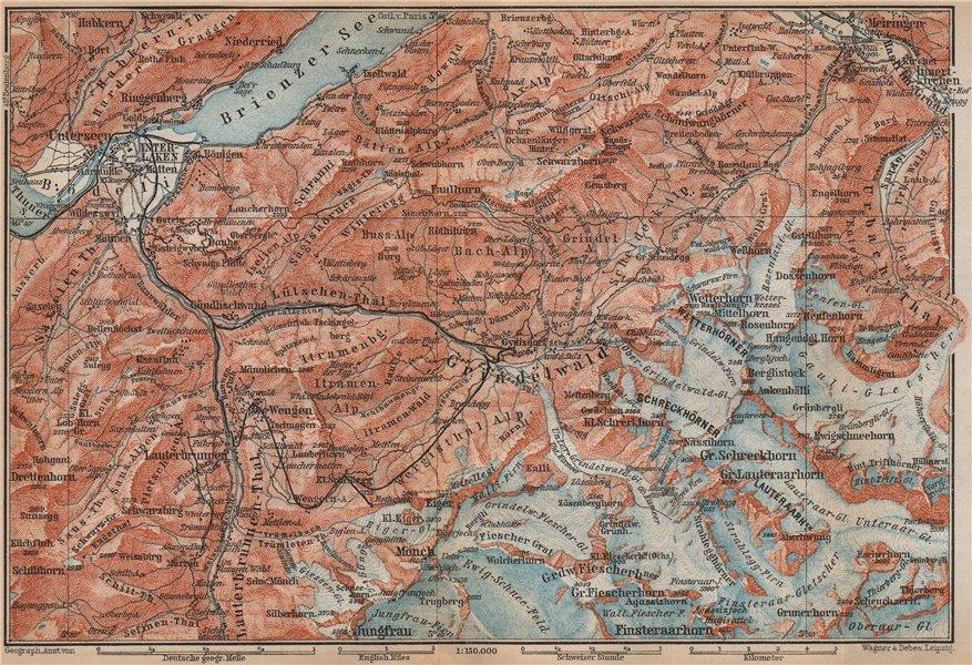Associate Product GRINDELWALD environs. Wengen Mürren Jungfrau Wetterhorn Interlaken 1899 map