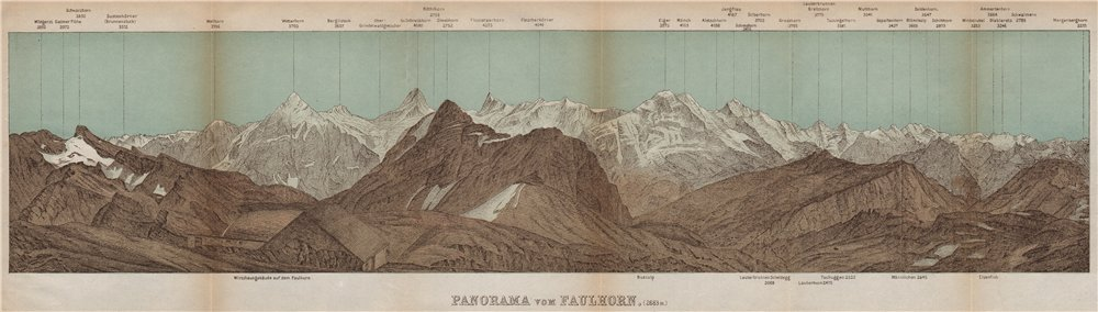 Associate Product PANORAMA from/vom FAULHORN. Berner Oberland. Bernese Oberland 1899 old map