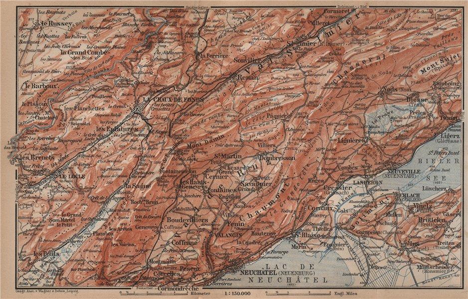 Associate Product NORTH WEST JURA. Neuchâtel La Chaux de Fonds Neuveville. Topo-map 1899 old