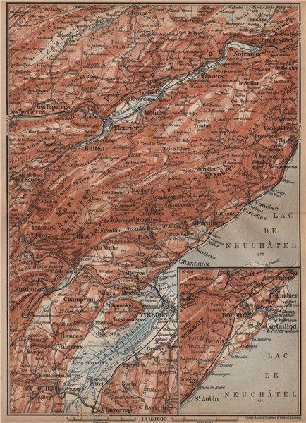Associate Product JURA. Val-de-Travers Orbe Noiraigue Yverdon Grandson Môtiers Buttes 1899 map