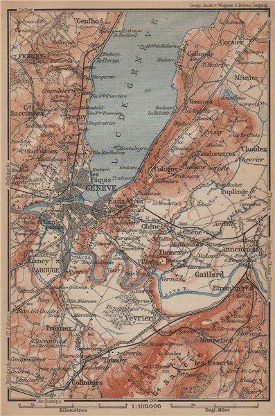 Associate Product GENEVA GENÈVE GENF ENVIRONS. Switzerland Suisse Schweiz carte karte 1899 map
