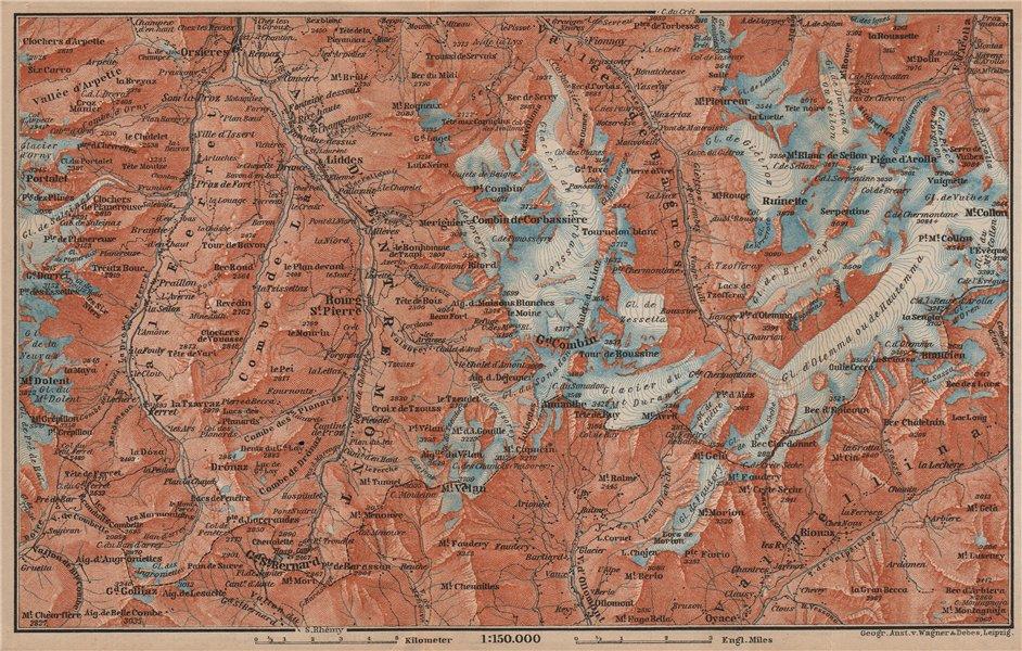 Associate Product GRAND ST BERNARD ENVIRONS Arolla Grand Combin Massif Orsières Mt Velan 1899 map