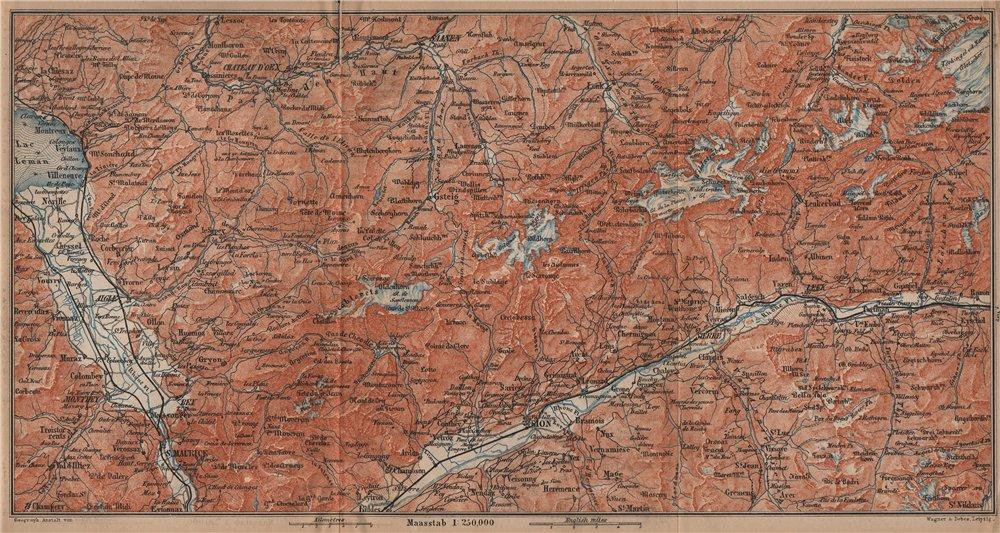 RHONE VALLEY. Gryon Villars Leysin Diablerets Crans-Montana Gstaad 1899 map