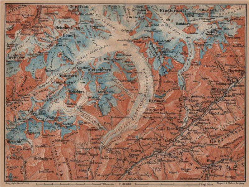 Associate Product ALETSCHHORN DISTRICT. Fiesch Mörel Jungfrau Nesthorn Grengiols 1899 old map
