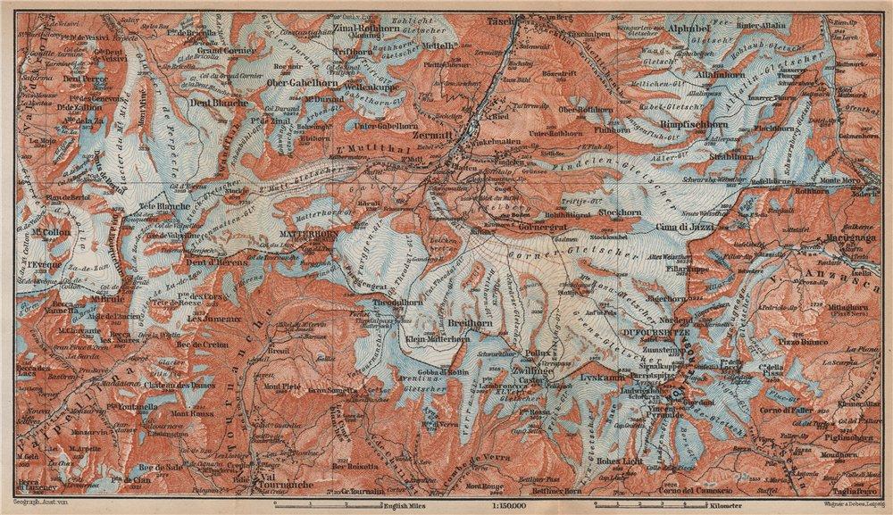 Associate Product ZERMATT ENVIRONS. Breuil-Cervinia Matterhorn Tournanche Monte Rosa 1899 map