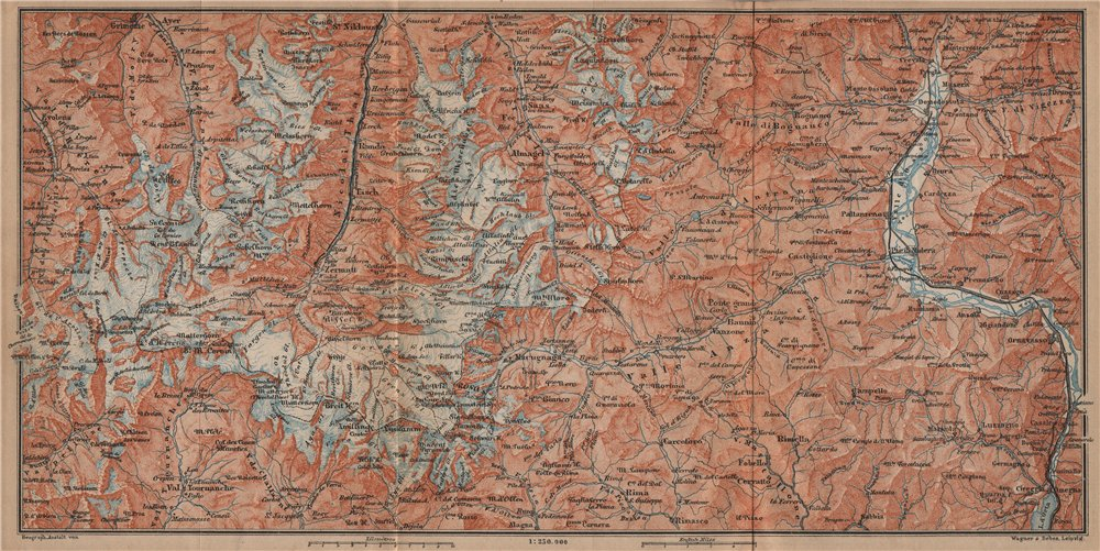 Associate Product VALAIS/PENNINE ALPS.Zermatt Saas-Fee/Grund/Almagell Breuil Domodossala 1899 map