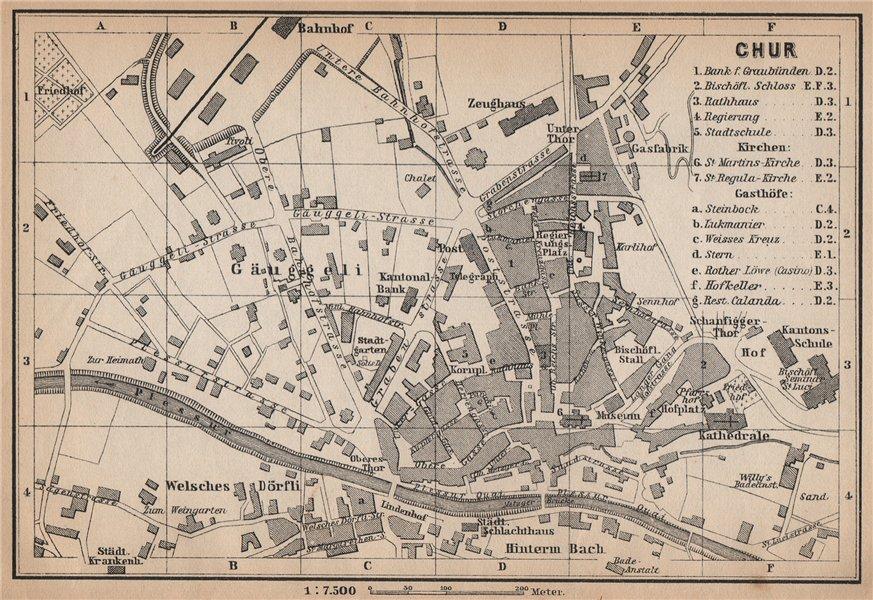 Associate Product COIRE / CHUR. Chur. town city stadtplan. Switzerland Suisse Schweiz 1899 map