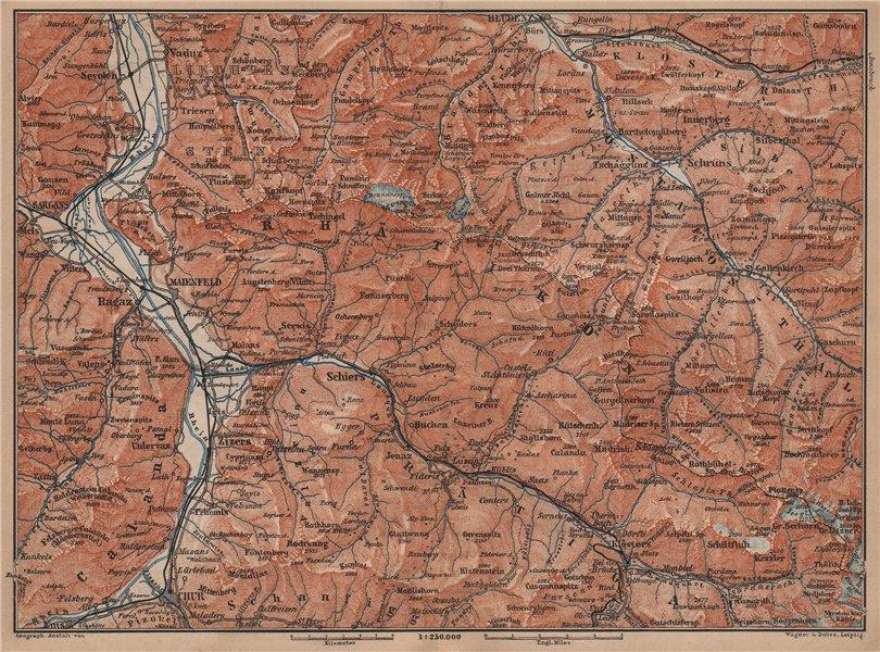 Associate Product BAD RAGAZ PRÄTIGAU MONTAFON ENVIRONS. Wangs Rätikon Bludenz Maienfeld 1899 map