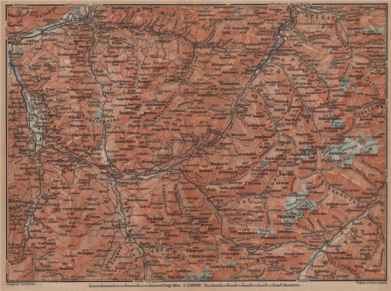 GRAUBÜNDEN/ALBULA ALPS. Chur-Samedan. Arosa Lenz Davos Savognin Thusis 1899 map