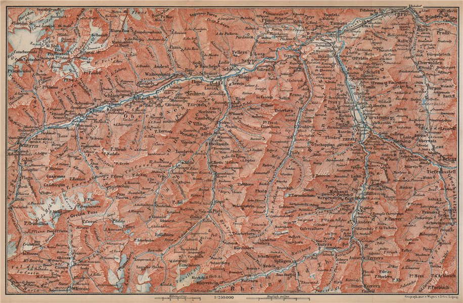 Associate Product VORDER-RHEINTHAL. Flims Laax Chur Obersaxen Tamins Brigels Thusis 1899 old map