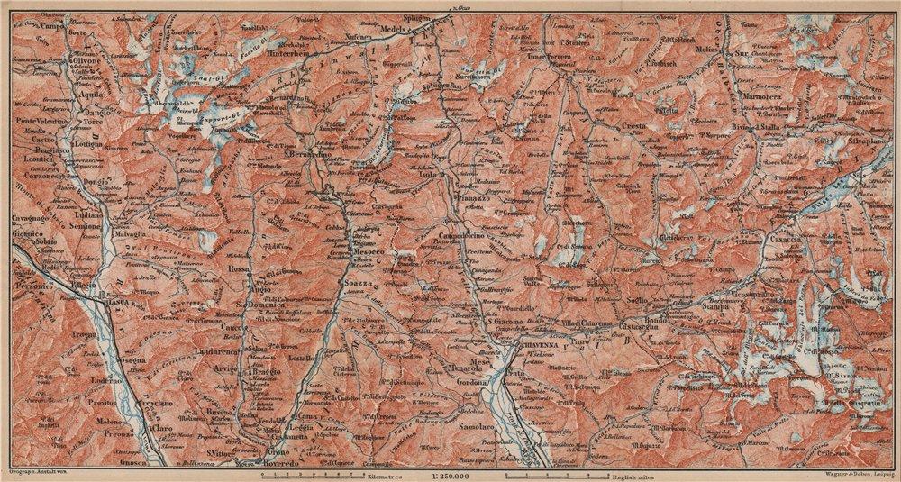 Associate Product LUKMANIER to MALOJA.Sils Maria Bivio Madesimo Chiavenna San Bernardino 1899 map