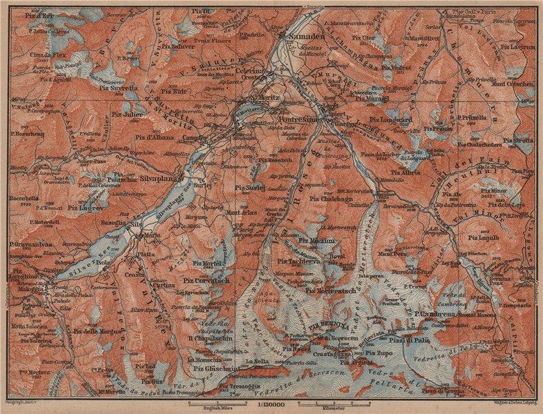 Associate Product UPPER ENGADINE. St Moritz Celerina Pontresina Sils-Maria Bernina Range 1899 map