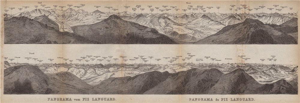 Associate Product PIZ LANGUARD PANORAMA. Bernina Roseg Monte Rosa Mont Blanc Cristallo 1899 map