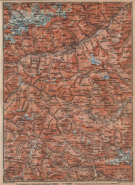 Associate Product LOWER ENGADINE. Livigno Bormio Ftan Scuol Silvretta Range Piz Buin 1899 map
