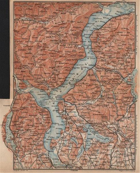 Associate Product LAGO MAGGIORE. Lake Maggiore. Varese Varesa Pallanza. Topo-map. Italy 1899