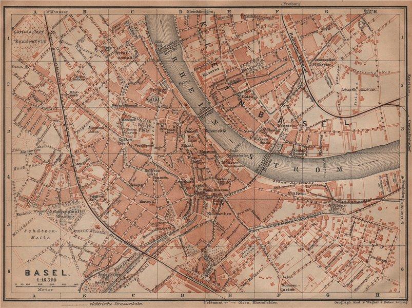 Associate Product BÂLE BASEL. Basle. town city stadtplan. Switzerland Suisse Schweiz 1901 map