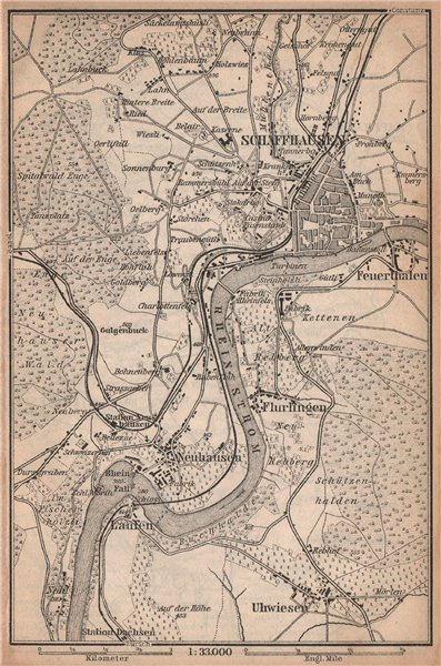 Associate Product SCHAFFHAUSEN environs. Flurlingen Feuerthalen Neuhausen. Schweiz 1901 old map