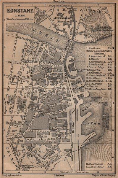 Associate Product CONSTANCE. KONSTANZ. town city stadtplan. Germany karte. BAEDEKER 1901 old map