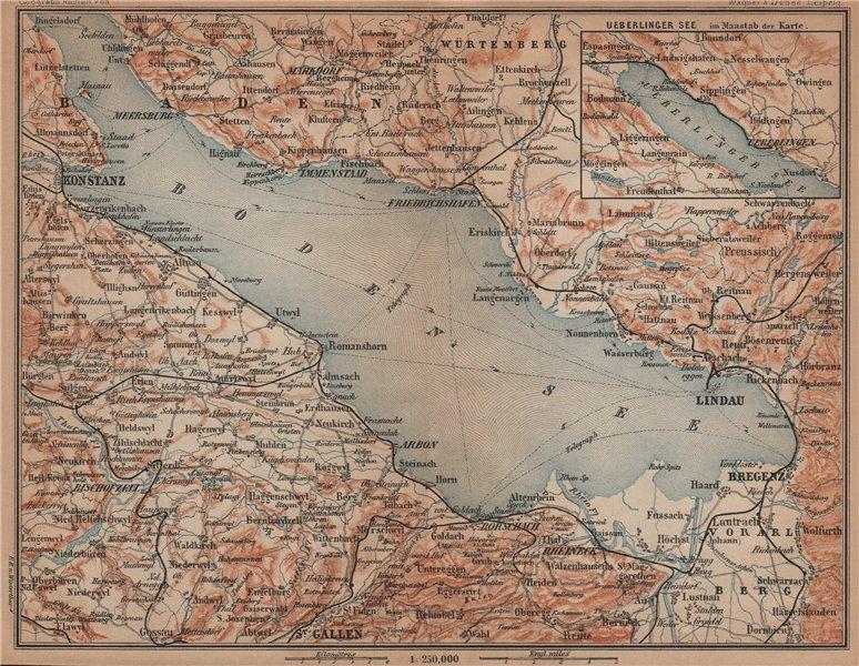 Associate Product LAKE CONSTANCE inset LINDAU. Konstanz St Gallen Bregenz. Topo-map 1901 old