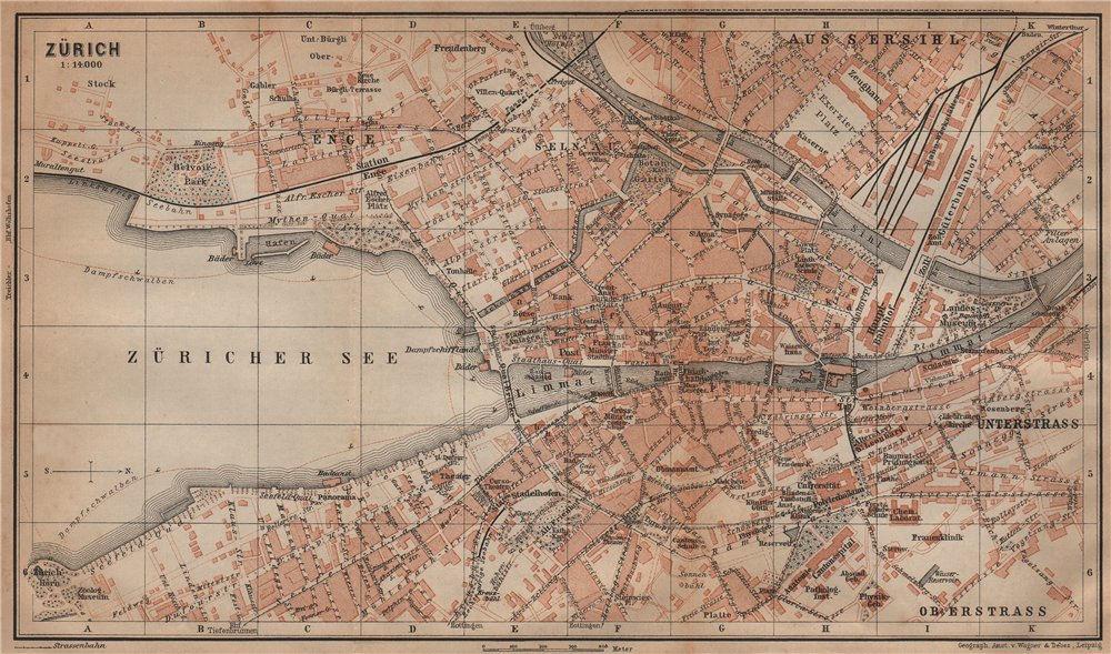 Associate Product ZÜRICH. Zurich. town city stadtplan. Switzerland Suisse Schweiz 1901 old map