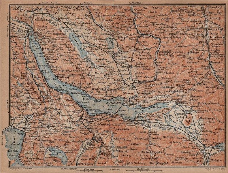 Associate Product LAKE ZÜRICH. Zuricher See Lachen Utznach.Topo-map. Switzerland Schweiz 1901