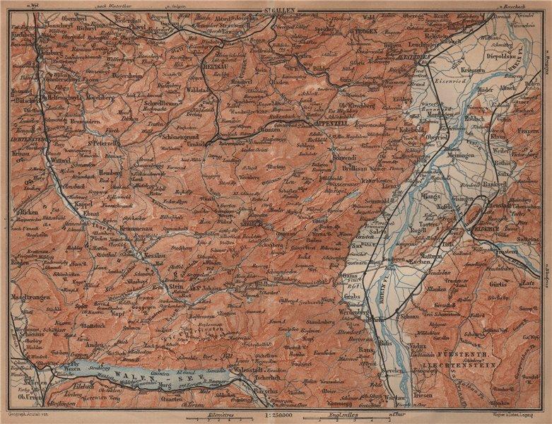 Associate Product APPENZELL CANTON. Wildhaus Unterwasser St. Gallen Trogen Walensee 1901 old map