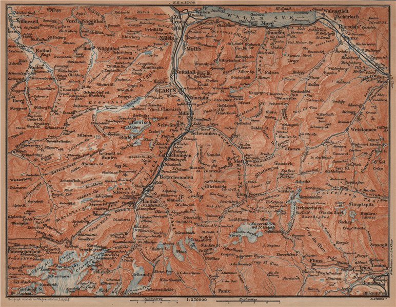 Associate Product GLARUS CANTON. Flums Braunwald Flims Näfels Walen See Linththal 1901 old map