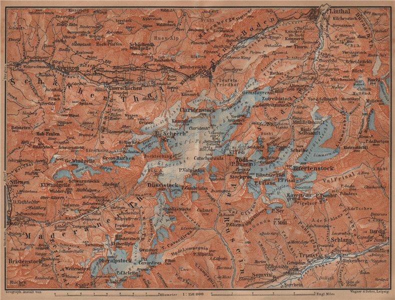 Associate Product TÖDI DISTRICT. Glarus Alps Linththal Bifertenstock Claridenstock 1901 old map