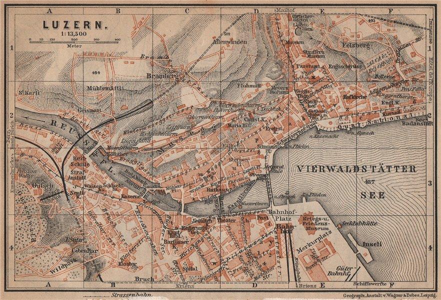 Associate Product LUCERNE LUZERN. town city stadtplan. Switzerland Suisse Schweiz 1901 old map