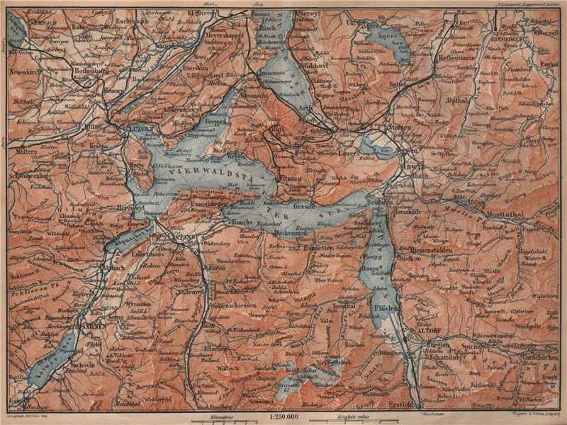 Associate Product LAKE LUCERNE. Vierwaldstättersee. Luzern Engelberg Sarnen Altorf Stanz 1901 map