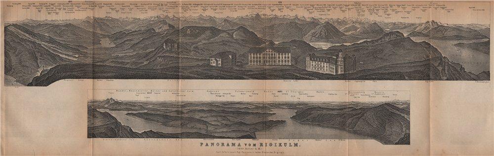 Associate Product PANORAMA from/von RIGIKULM 1800m. Küssnacht. Switzerland Schweiz 1901 old map