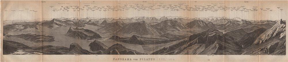 Associate Product PANORAMA from/von PILATUS. Vierwaldstättersee. Lake Lucerne. Schweiz 1901 map