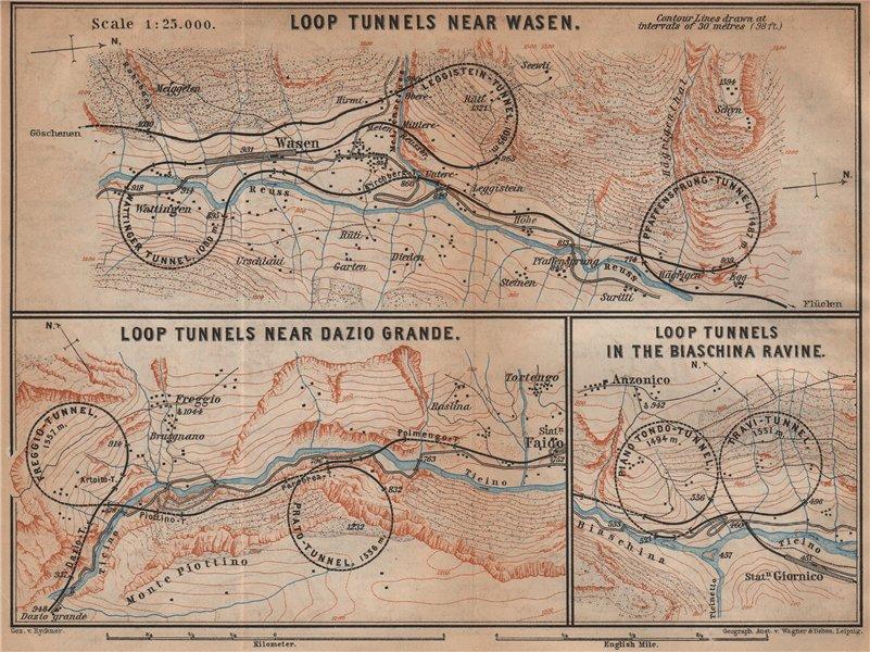 Associate Product ST GOTTHARD RAILWAY SPIRAL/LOOP TUNNELS Wassen Freggio Prato Biaschina 1901 map