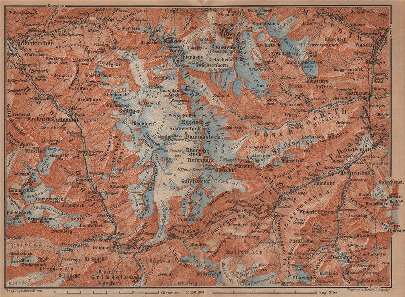 Associate Product URNER/URI ALPS. Trift district. Andermatt Innertkirchen Dammastock 1901 map