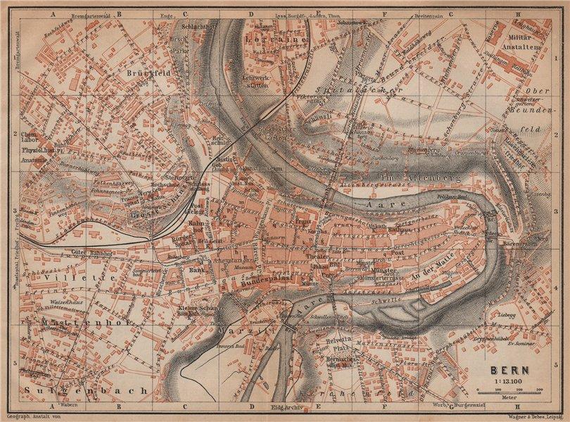 Associate Product BERN BERNE. town city stadtplan. Switzerland Suisse Schweiz. BAEDEKER 1901 map