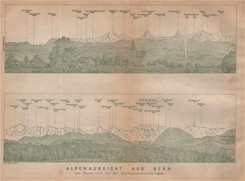 Associate Product PANORAMA vom/from BERN/Berne. Blumisalp Eiger Jungfrau Gletscherhorn 1901 map