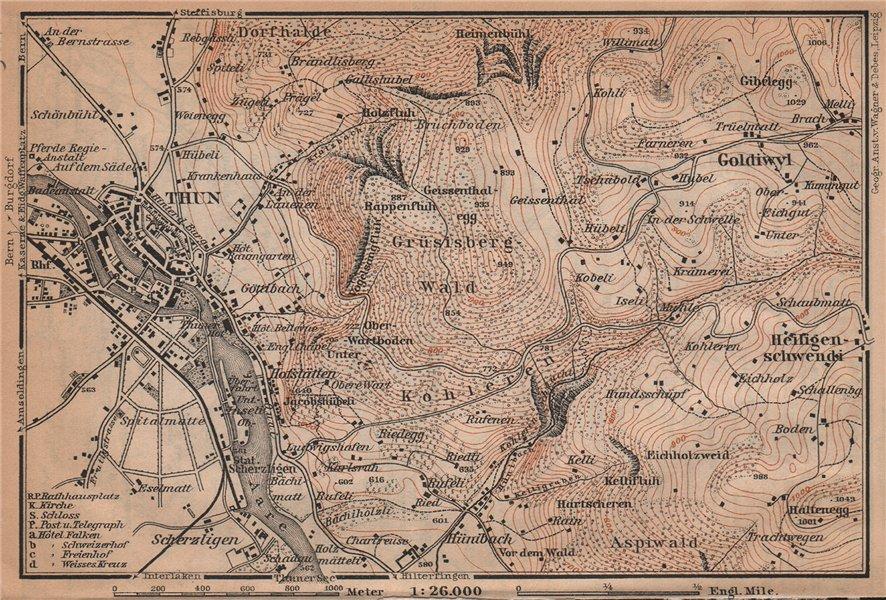 Associate Product THUN ENVIRONS. Goldiwyl. Switzerland Suisse Schweiz carte karte 1901 map