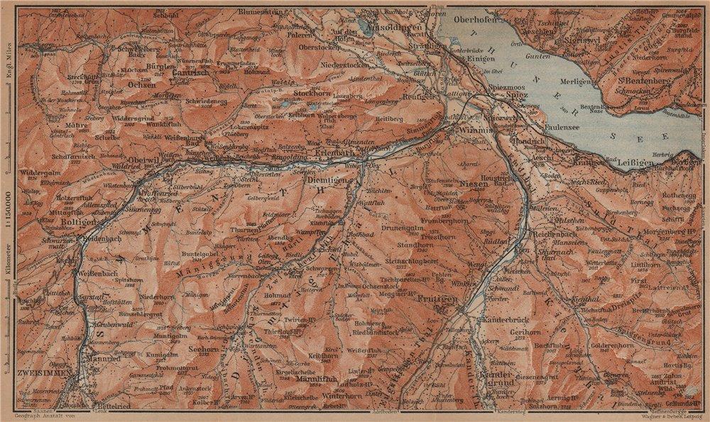 Associate Product THUNER SEE. SIMME/KANDER VALLEYS. Gantrisch Spiez Frutigen Oberwil 1901 map