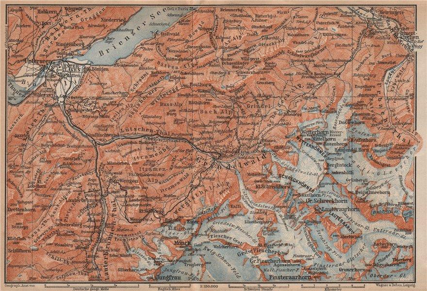 Associate Product GRINDELWALD environs. Wengen Mürren Jungfrau Wetterhorn Interlaken 1901 map
