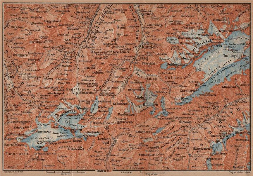 Associate Product KANDERSTEG area.Blumisalp Adelboden Wildstrubel Rinderhorn Torrenthorn 1901 map