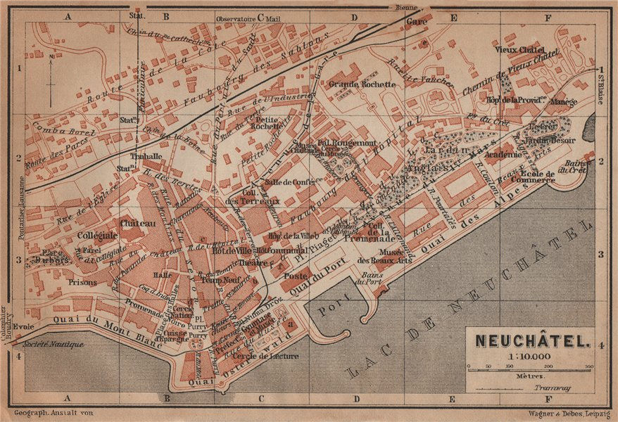 Associate Product NEUCHÂTEL / NEUENBURG. town city plan. Switzerland Suisse Schweiz 1901 old map