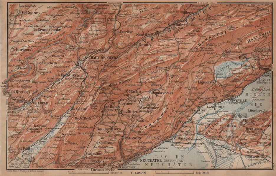 Associate Product NORTH WEST JURA. Neuchâtel La Chaux de Fonds Neuveville. Topo-map 1901 old