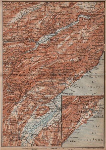 Associate Product JURA. Val-de-Travers Orbe Noiraigue Yverdon Grandson Môtiers Buttes 1901 map