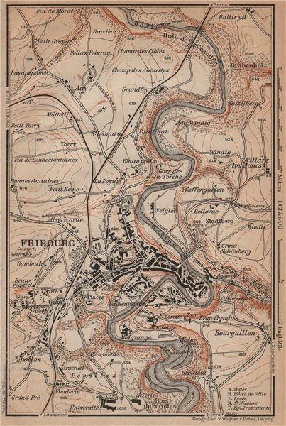 Associate Product FRIBOURG / FREIBURG ENVIRONS. Switzerland Suisse Schweiz carte karte 1901 map