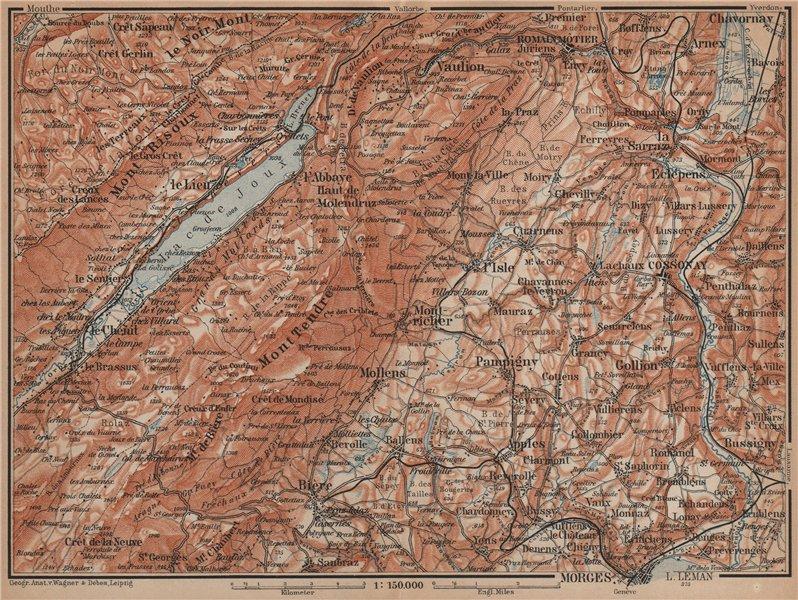 Associate Product WESTERN JURA. Morges Cossonay Vaulion Mont Risoux/Tendre Lac de Joux 1901 map