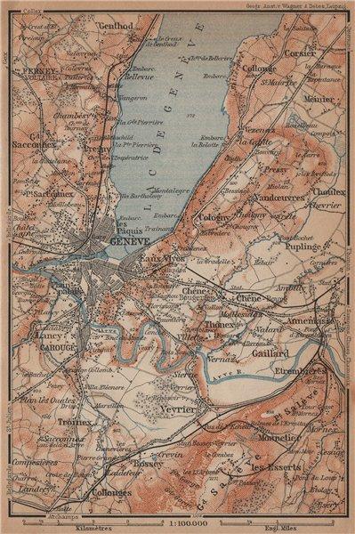 Associate Product GENEVA GENÈVE GENF ENVIRONS. Switzerland Suisse Schweiz carte karte 1901 map