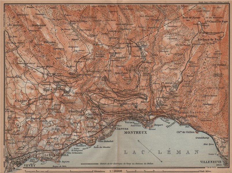Associate Product MONTREAUX AREA. Vevey Villneuve. Topo-map. Switzerland Suisse Schweiz 1901